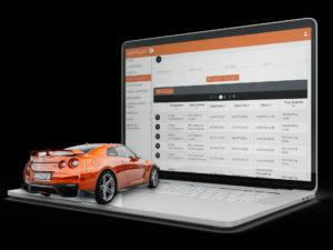 mockup fleet manager con auto arancione